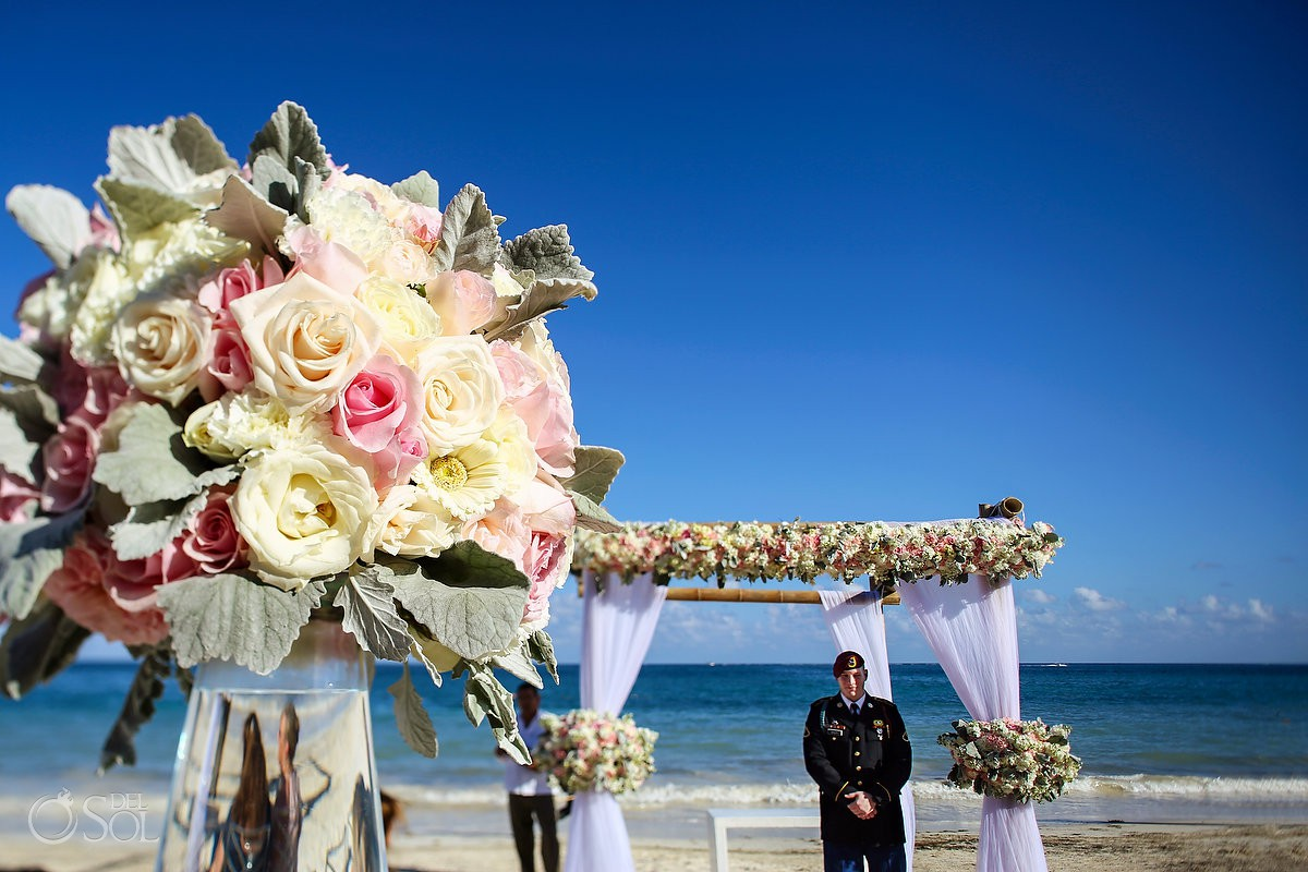 Destination wedding ceremony groom waiting bride Now Sapphire Riviera Maya México