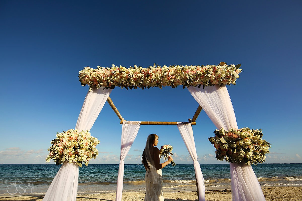 Beautiful gazebo set up beach wedding bride portrait best destination venue Now Sapphire Riviera Maya México