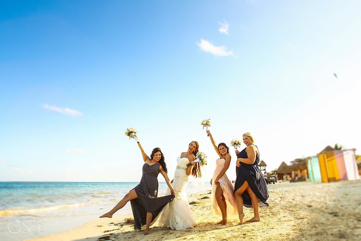 bride and bridesmaids beach wedding Now Sapphire Riviera Maya México