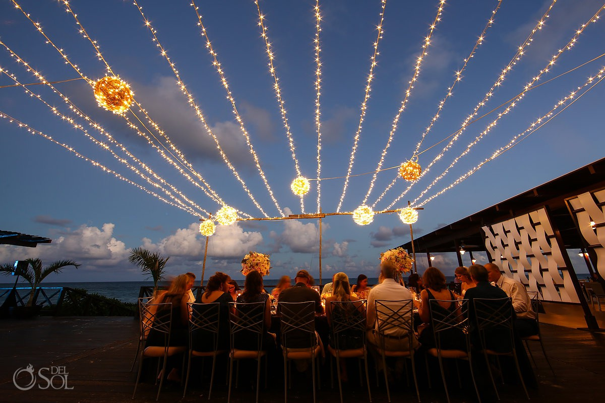 Wedding reception beautiful lights set up Now Sapphire Riviera Maya México