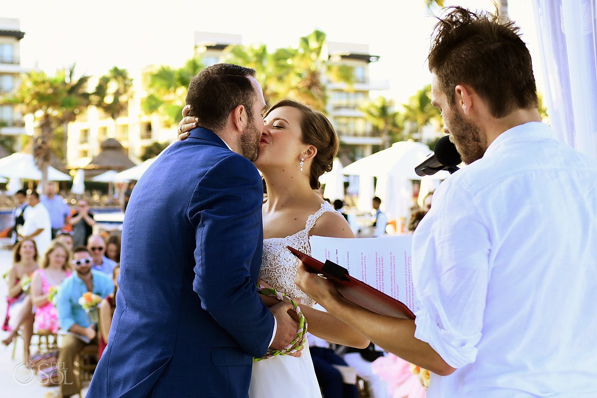 first kiss destination wedding Dreams Riviera Cancun gazebo Mexico