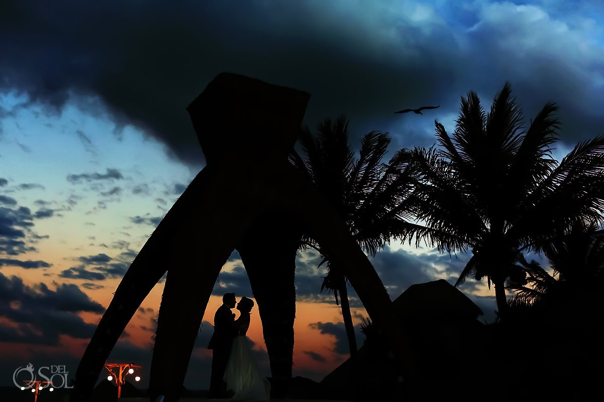 destination wedding portrait silhouette Dreams Riviera Cancun gazebo Mexico