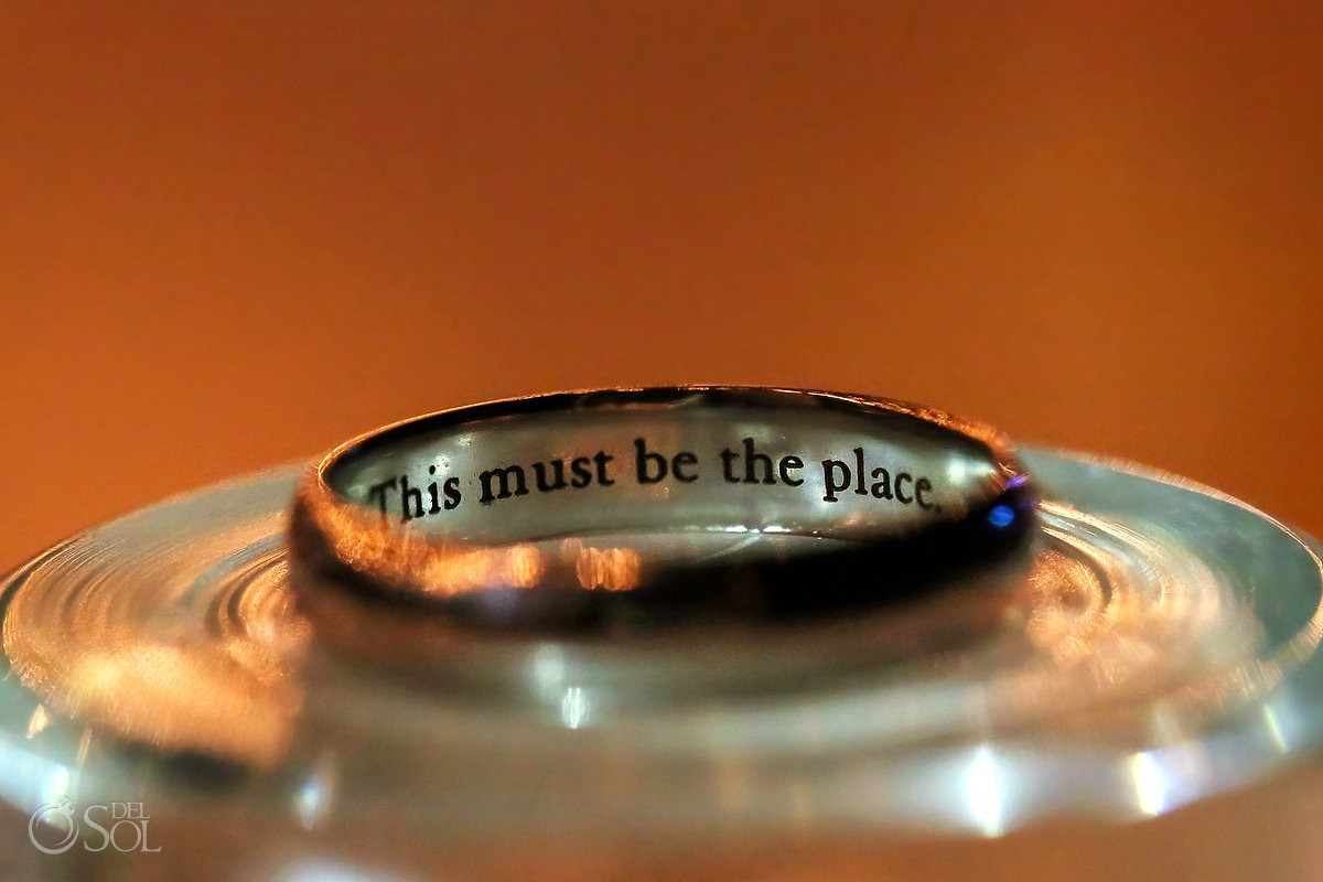 personalized wedding ring inscription engraving idea 'this must be the place' talking heads Iron and Wine