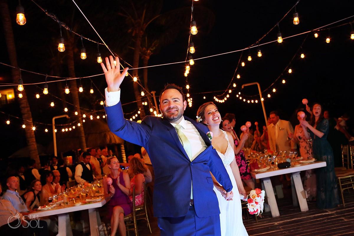 bride groom entrance Dreams Riviera Cancun pool deck wedding reception Mexico