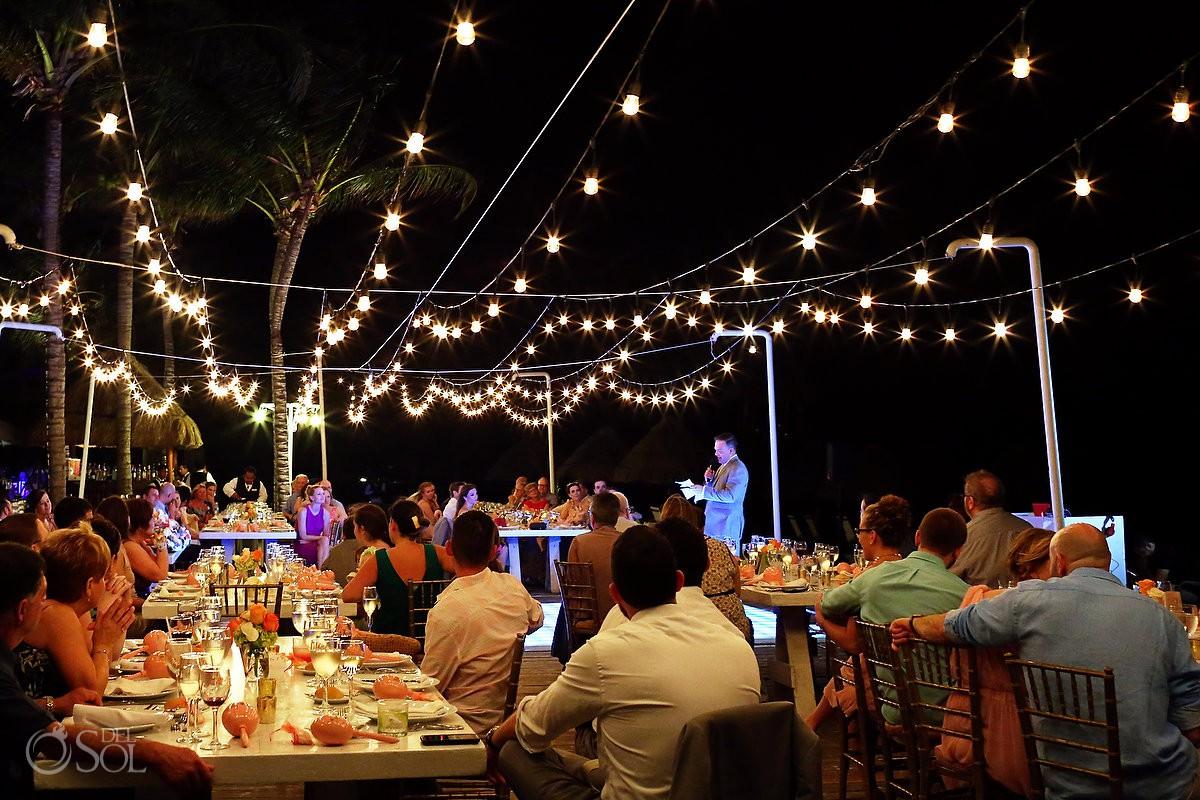 Dreams Riviera Cancun pool deck wedding reception bride groom Mexico