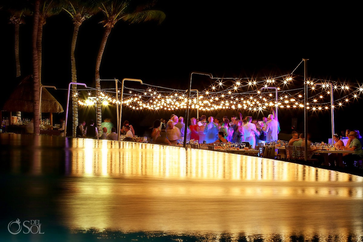 Dreams Riviera Cancun pool deck wedding reception