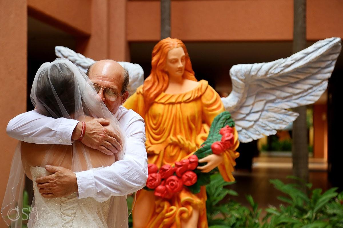 first look father bride Destination Wedding at Barceló Maya Palace, Riviera Maya, Mexico