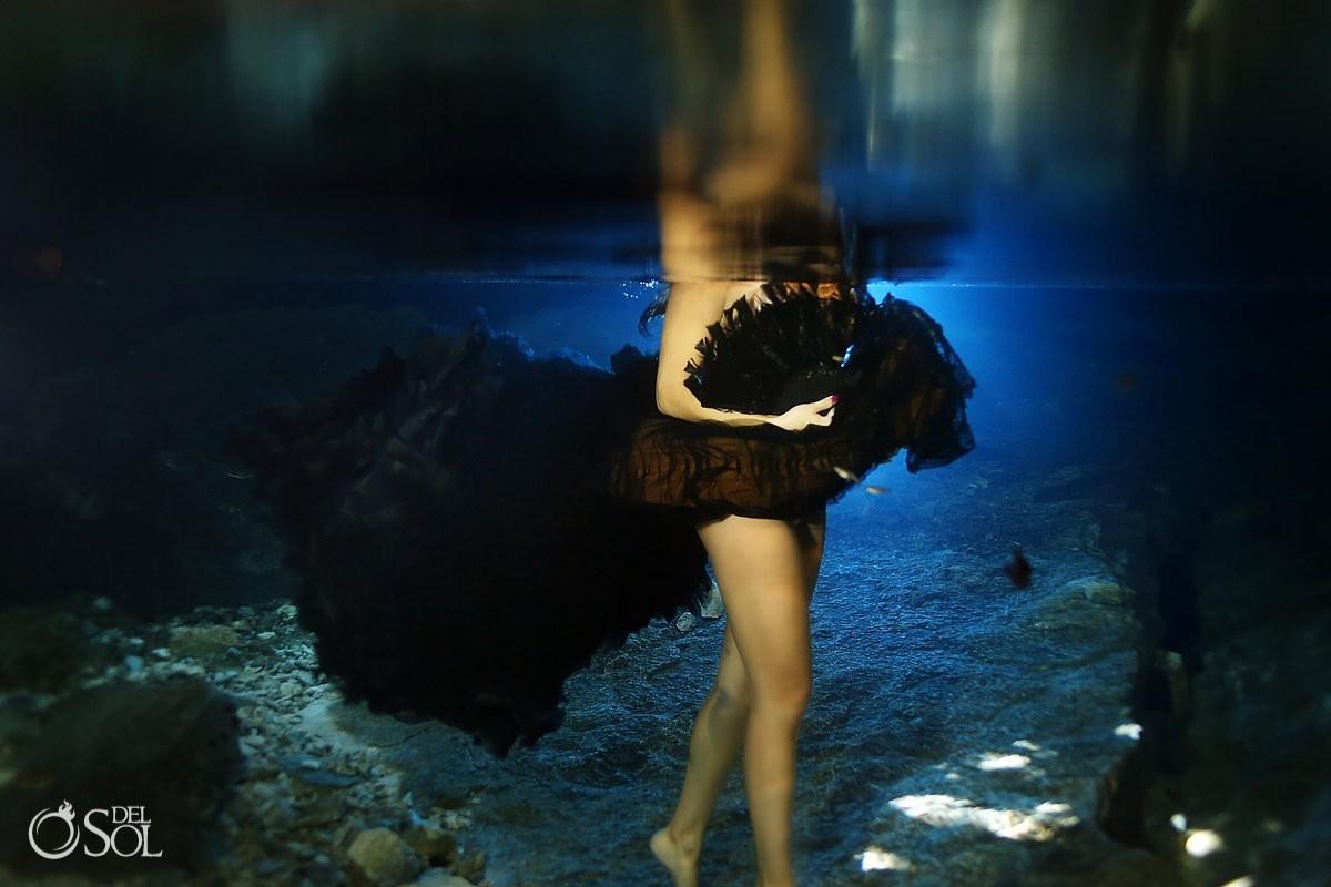 Vera Wang black wedding dress underwater photography
