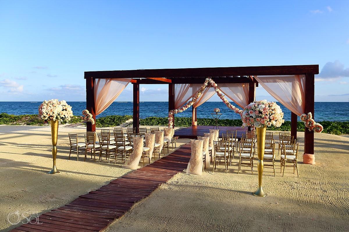 Breathless Riviera Maya beach wedding flowers ceremony decoration oceanview