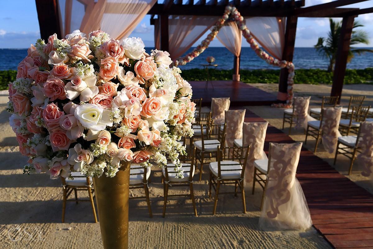 Breathless Riviera Maya beach wedding flowers ceremony decor