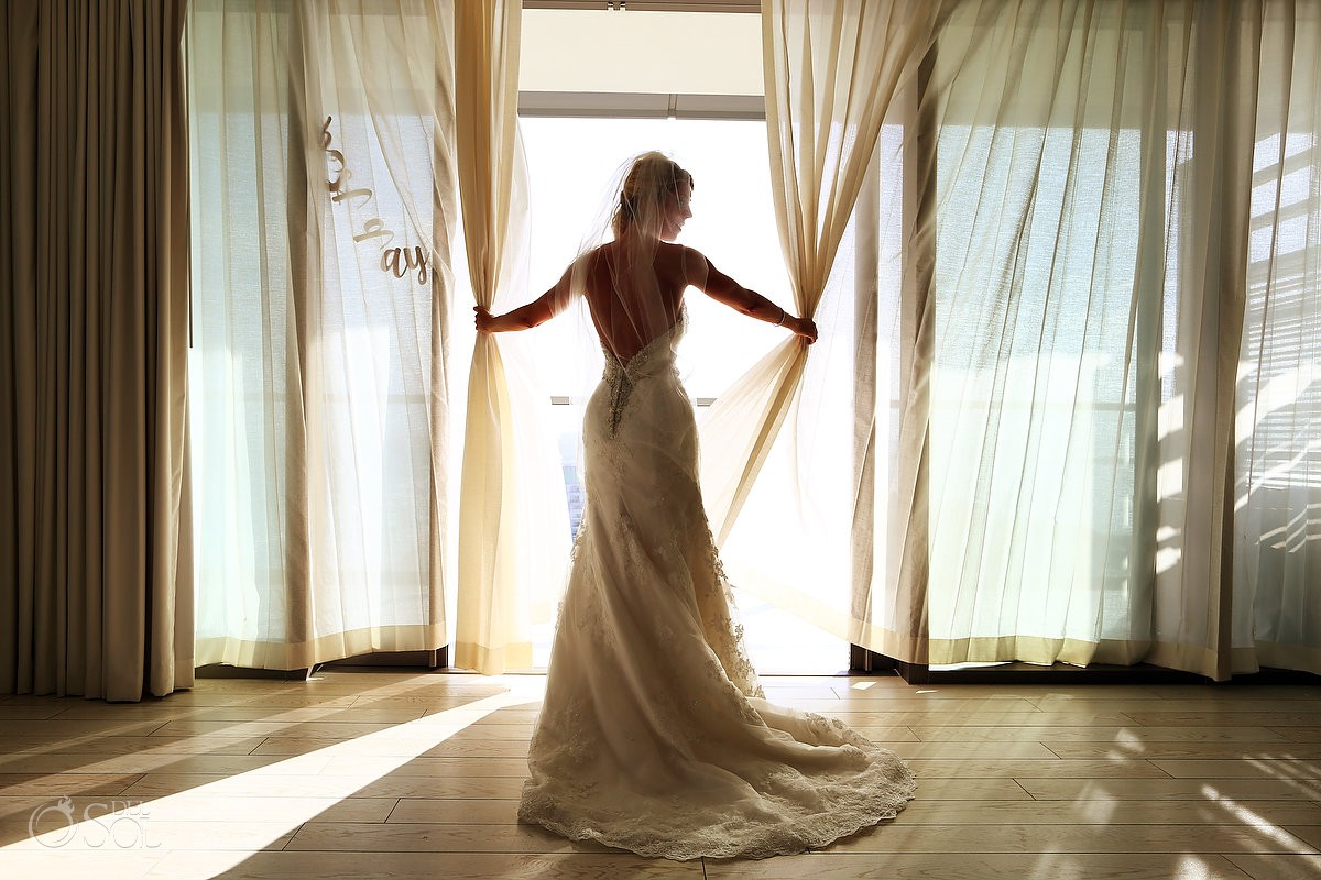 beautiful bride silhouette portrait getting ready Secrets the Vine AM Resorts Mexico.