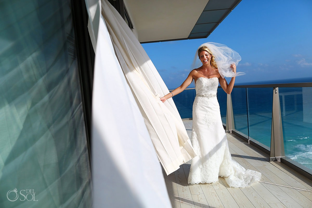 happy bride laughing candid portrait Casablanca bridal Wedding dress Destination Wedding at Secrets the Vine Cancun Mexico