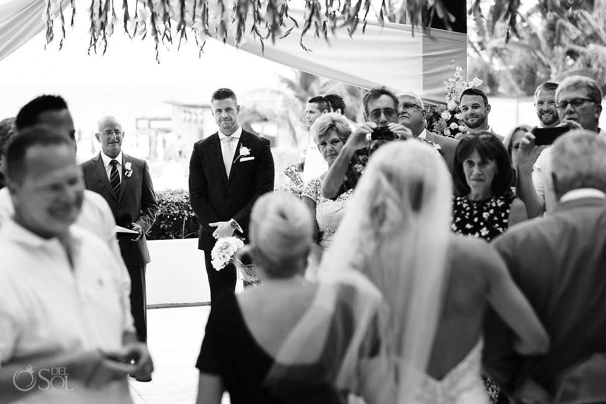 First look ceremony Vine lounge terrace Destination Wedding at Secrets the Vine Cancun Mexico