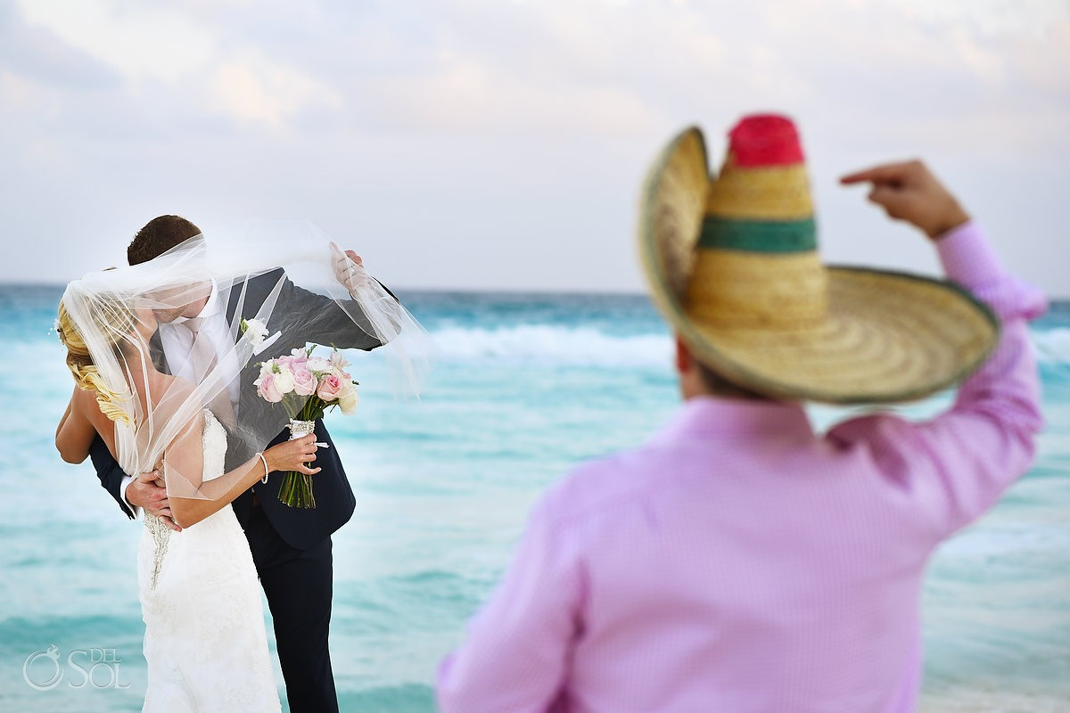 Mexican photobomb Secrets the Vine Wedding Cancun Mexico.