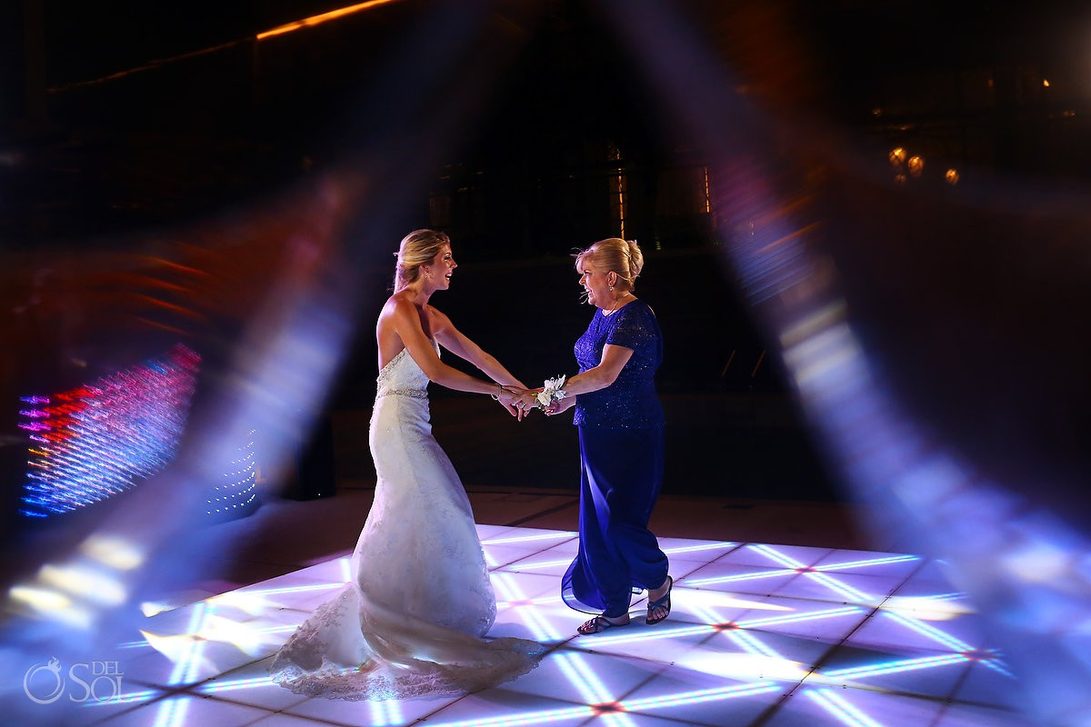 bride and mom first dance wedding reception Secrets the Vine AM Resorts Mexico.