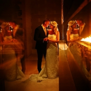 Destination Wedding portrait with fire Secrets the Vine Cancun Mexico #travelforlove