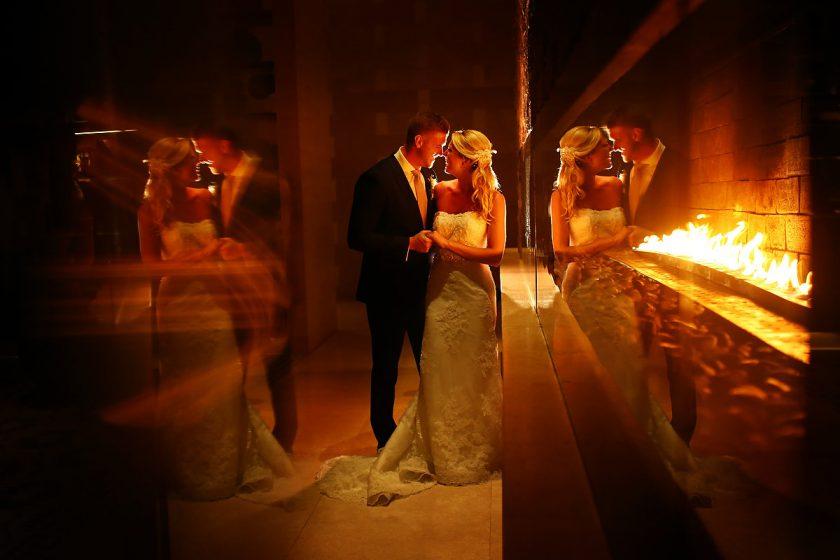 Destination Wedding portrait with fire Secrets the Vine Cancun Mexico #travelforlove