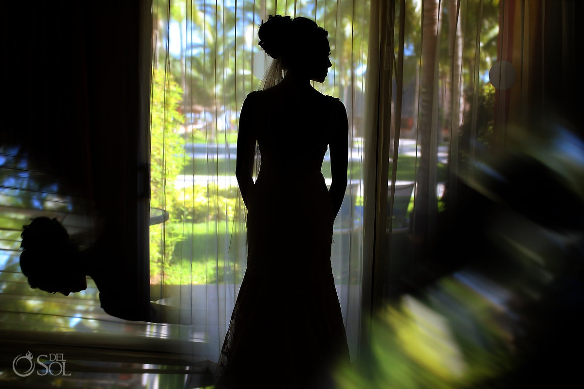 getting ready bride silhouette Barcelo Maya Playa del Carmen wedding