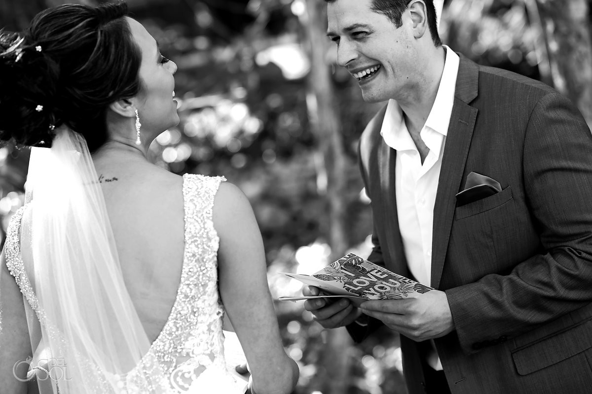 Bride and groom emotional first look Riviera Maya Mexico
