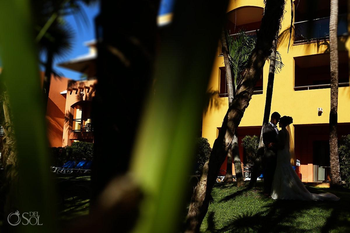 Barcelo Maya Palace Deluxe creative bride and groom portrait destination wedding Mexico