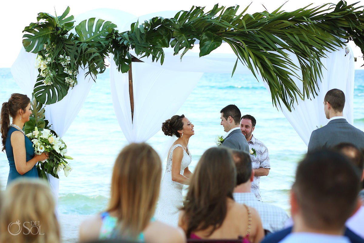 Destination beach wedding Blue Venado Beach Club Playa del Carmen Mexico.