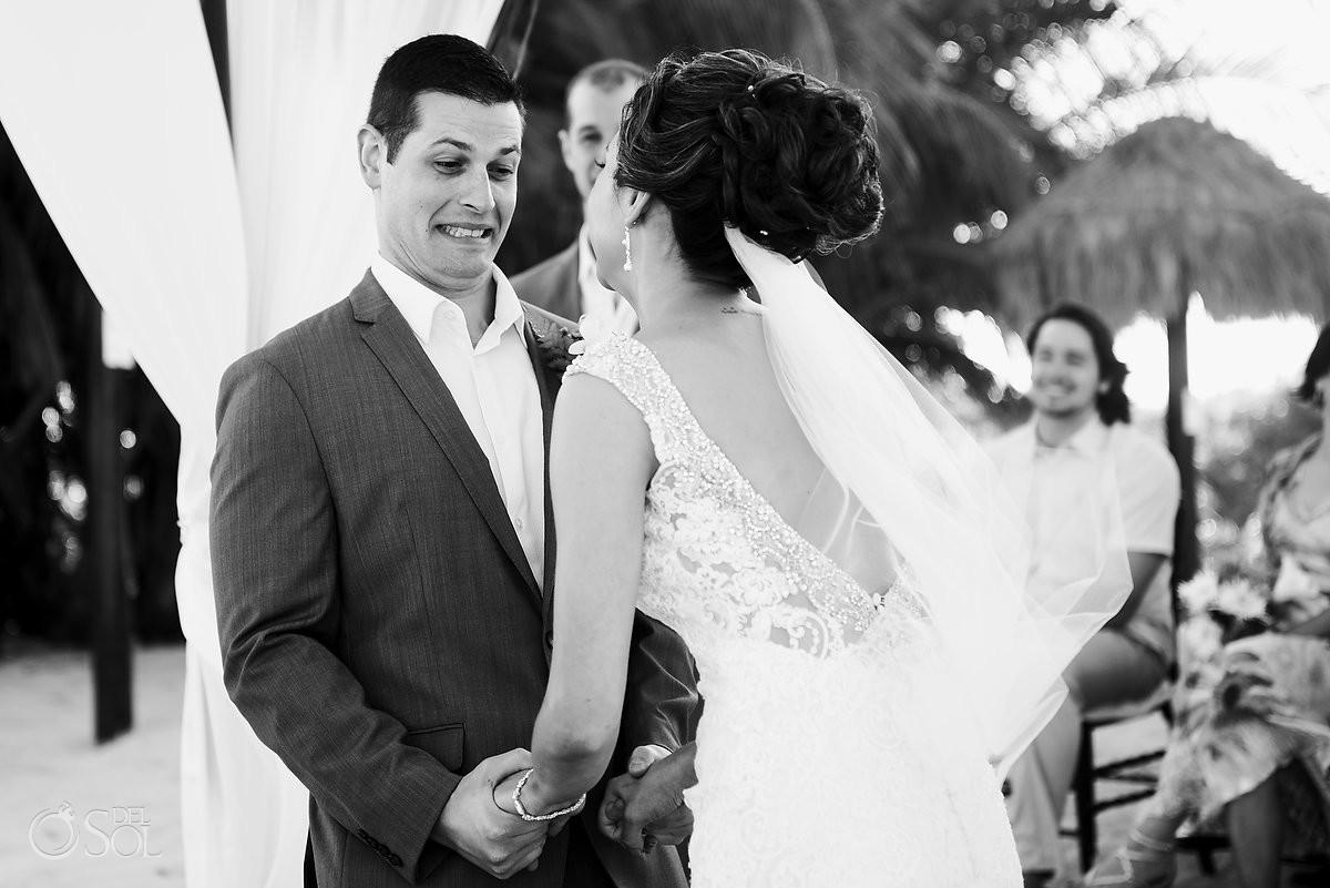 Fun vows destination wedding Blue Venado Beach Club Playa del Carmen Mexico.