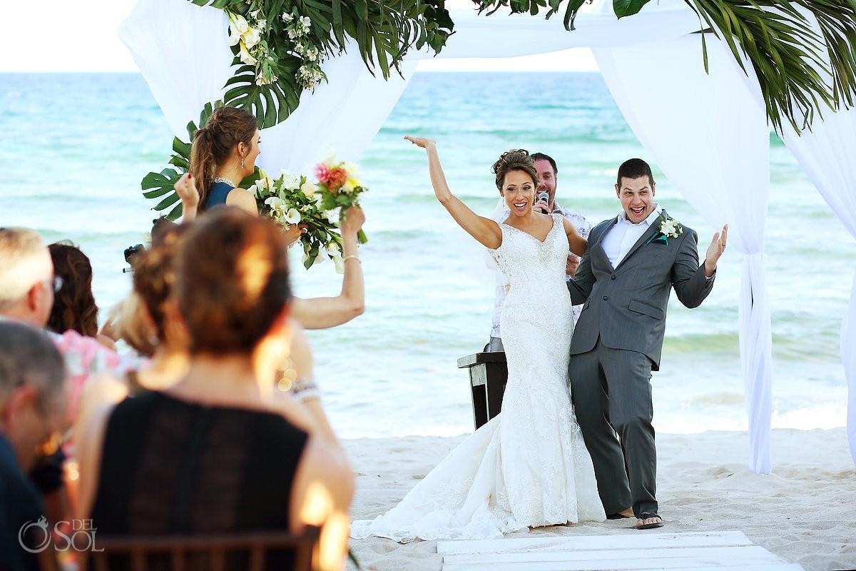 Playa del Carmen Beach Club wedding just married celebration destination beach wedding Blue Venado Beach Club Playa del Carmen Mexico.