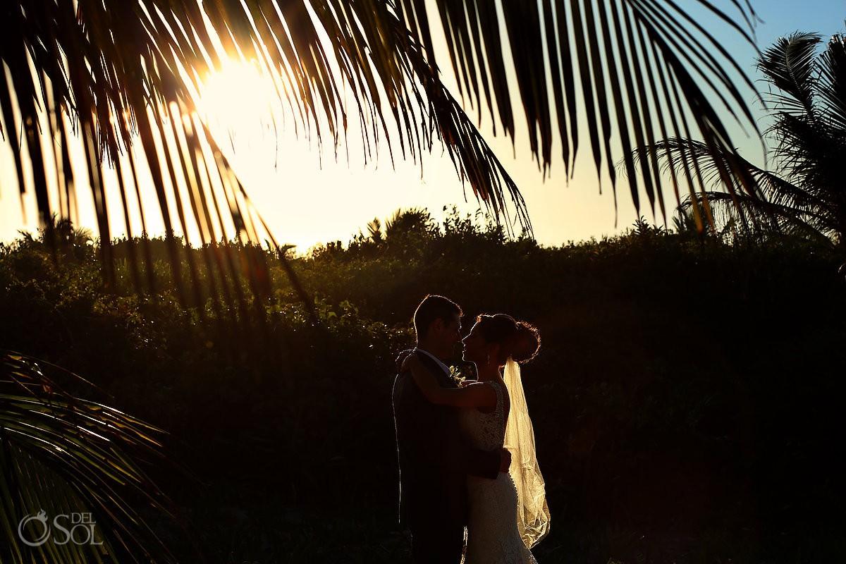 Amazing sunset wedding portrait Blue Venado Beach Club Playa del Carmen Mexico.