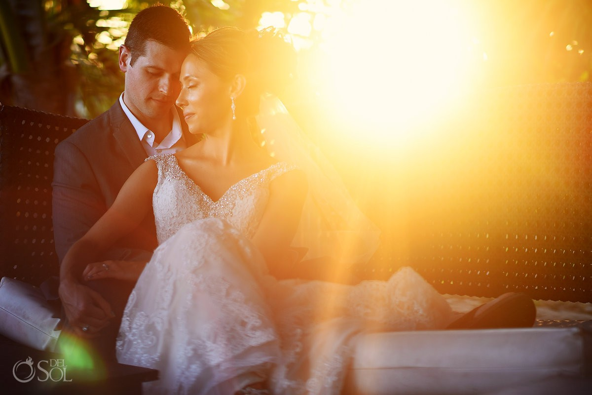 Amazing sunset light bride and groom wedding portraits Blue Venado Beach Club Playa del Carmen Mexico.