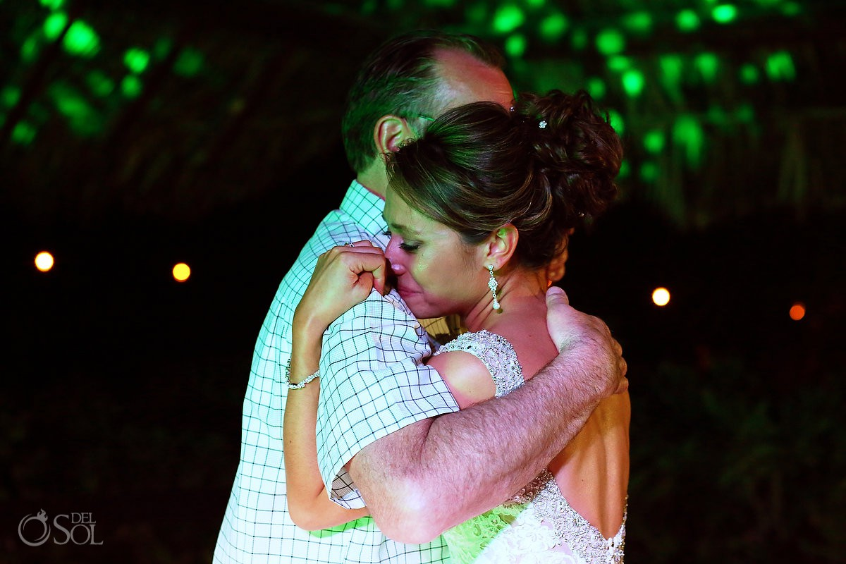 Father and bride emotional dance Blue Venado Beach Club Playa del Carmen Mexico.