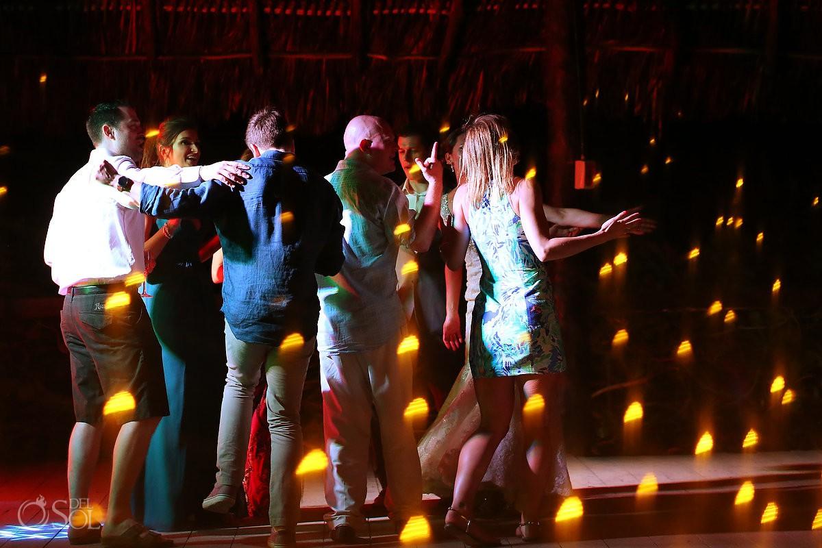 Playa del Carmen Beach Club wedding Dancing palapa beach destination wedding Blue Venado