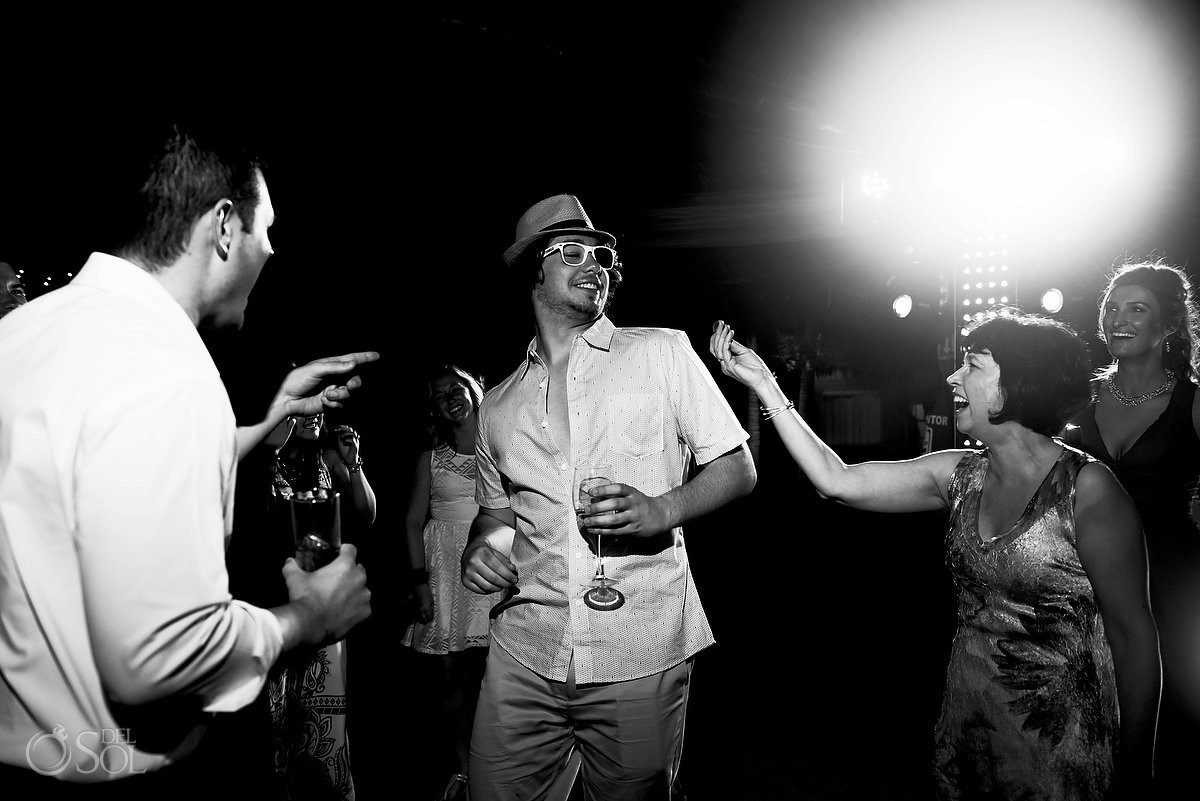 black and white wedding party Blue Venado Beach Club Playa del Carmen Mexico.