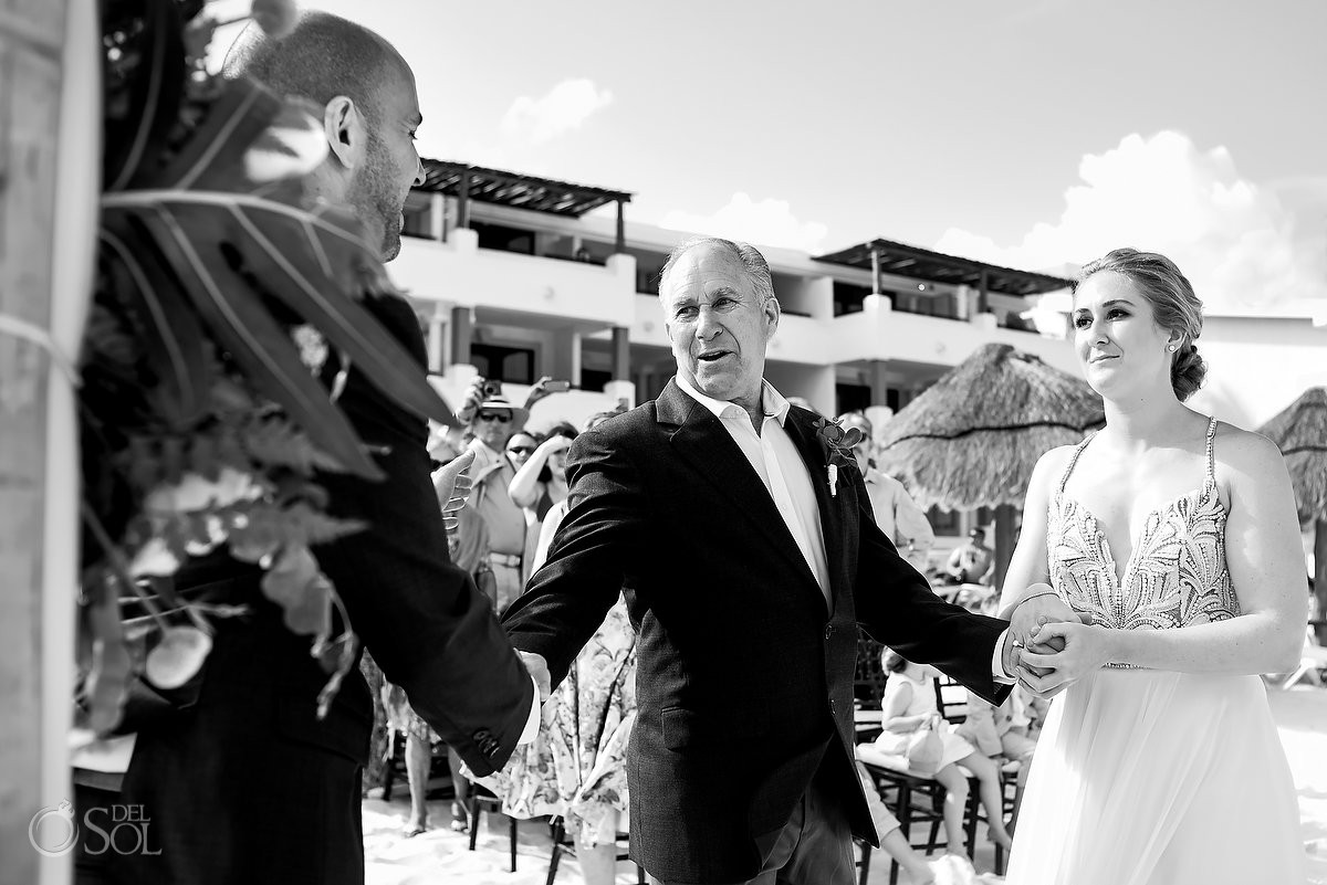 Father giving away bride destination beach wedding ceremony Now Sapphire Puerto Morelos Mexico