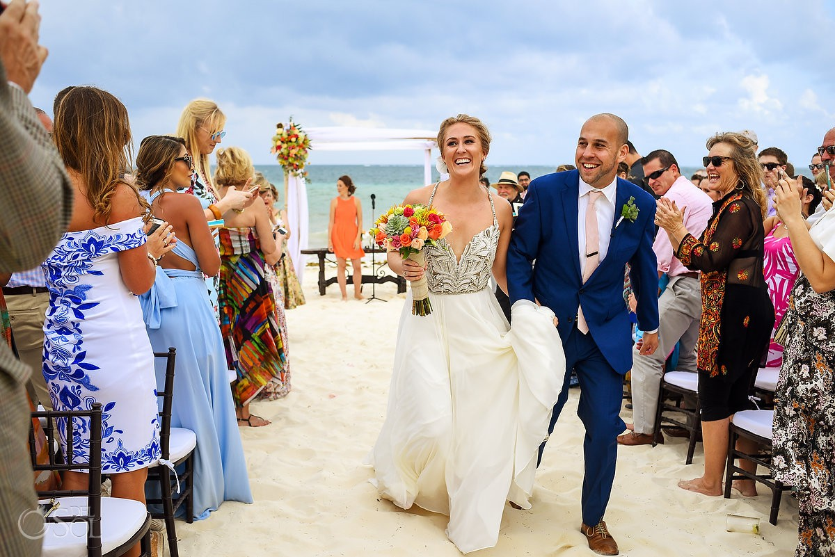 Just married wedding beach Now Sapphire Puerto Morelos Mexico
