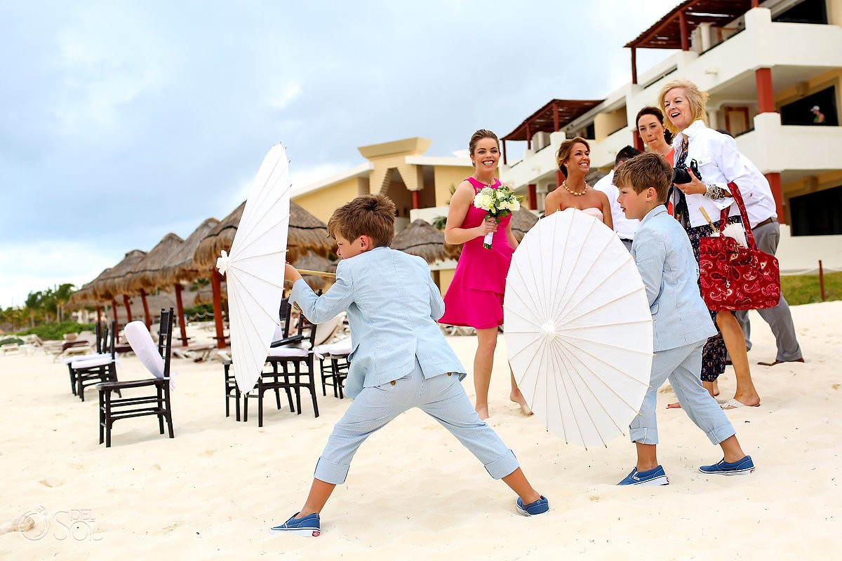 kids having fun destination wedding Now Sapphire Puerto Morelos Mexico