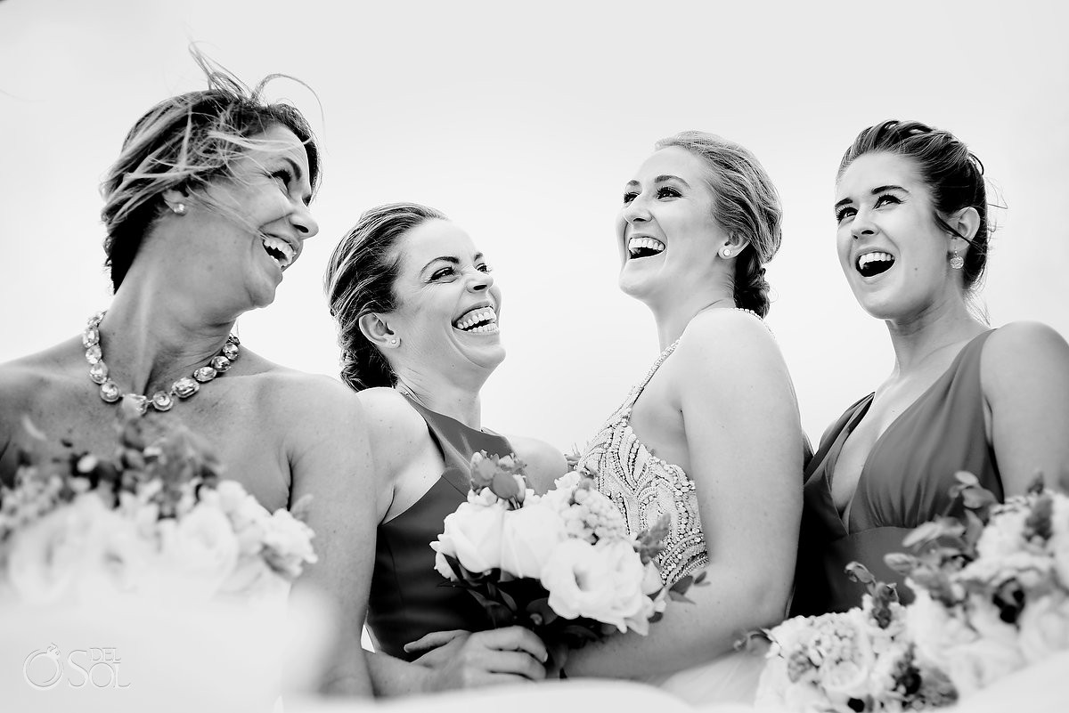 beautiful black and white bride and bridesmaids portrait Now Sapphire Puerto Morelos Mexico