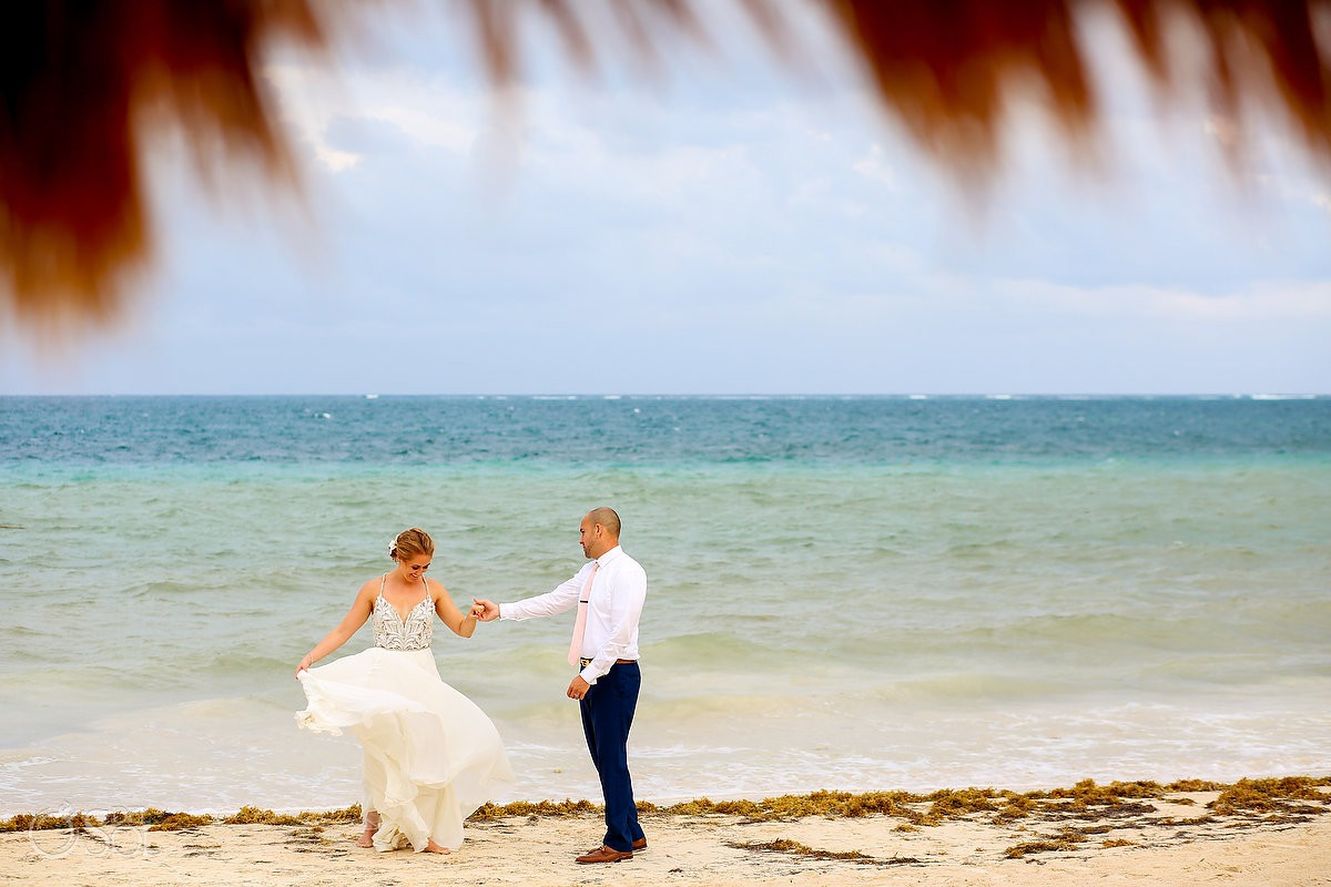 Bride and groom beach portrait Now Sapphire Puerto Morelos Mexico