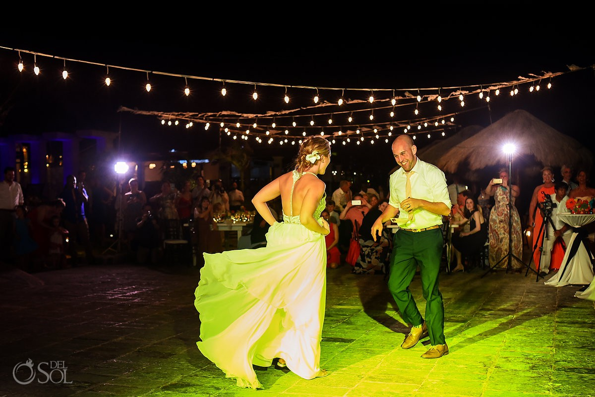 Bride and groom First Dance Now Sapphire Puerto Morelos Mexico