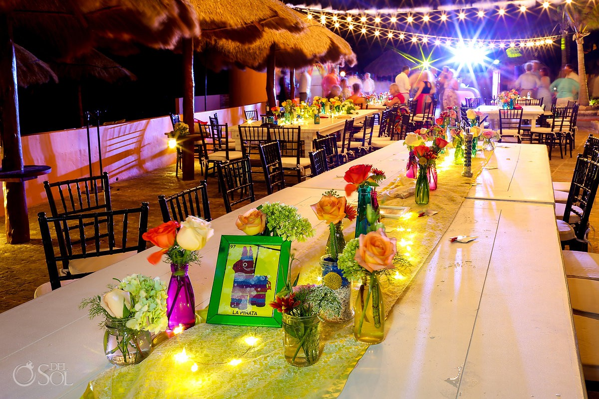 wedding reception set up Now Sapphire Puerto Morelos Mexico