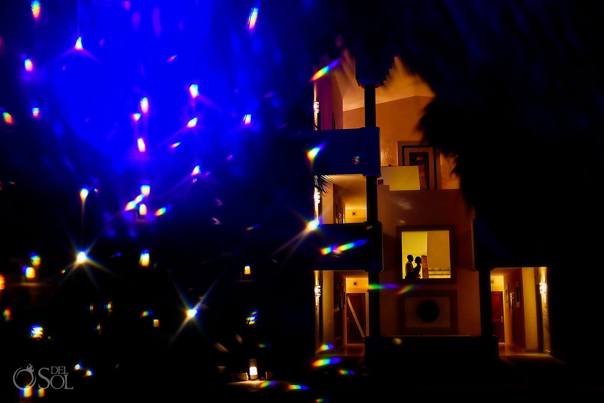 Creative night portrait best destination wedding location Now Sapphire Puerto Morelos Mexico