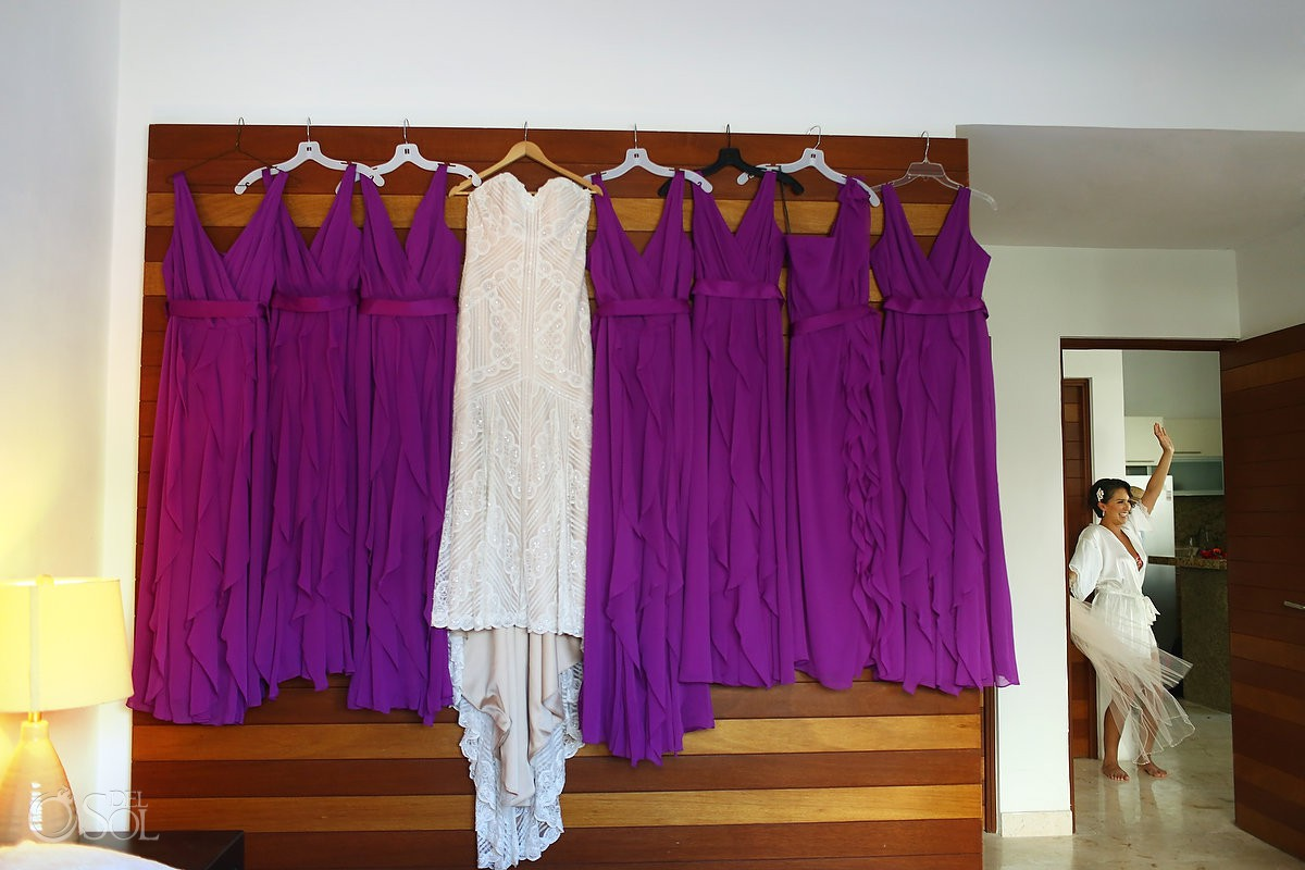 Wedding dress before ceremony Playa del Carmen Mexico