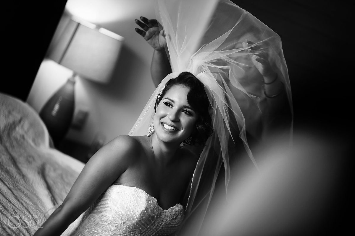 Bride's portrait before wedding Playa del Carmen Mexico
