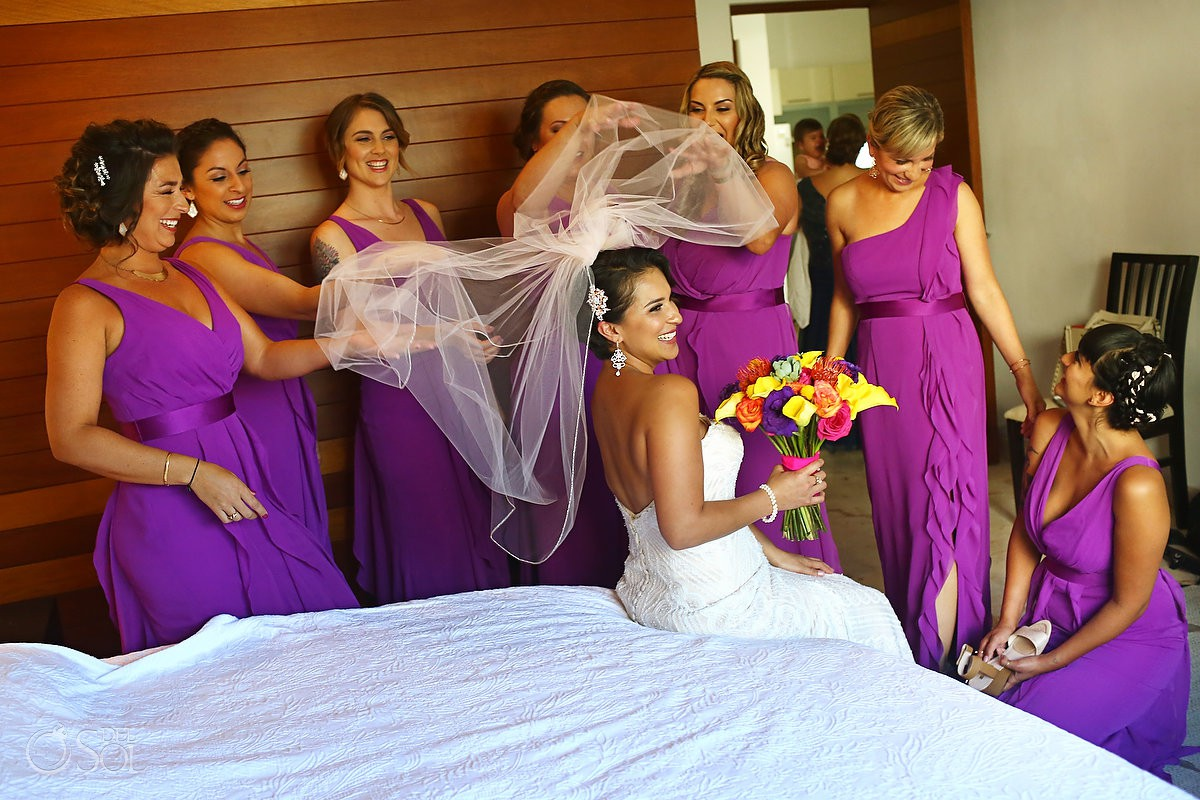 Bride with Bridesmaids having fun before the wedding Playa del Carmen Mexico