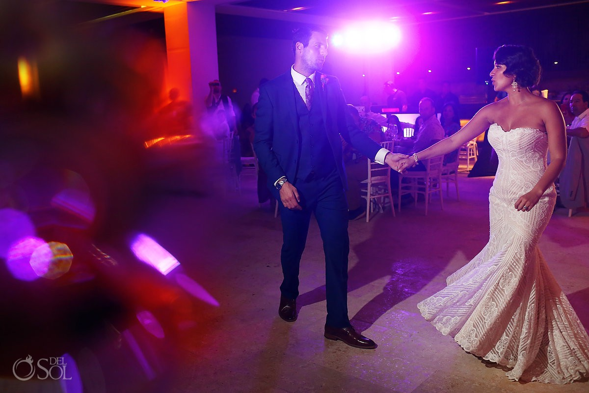 Bride and Groom's first dance Mamita's beach club Playa del Carmen Mexico