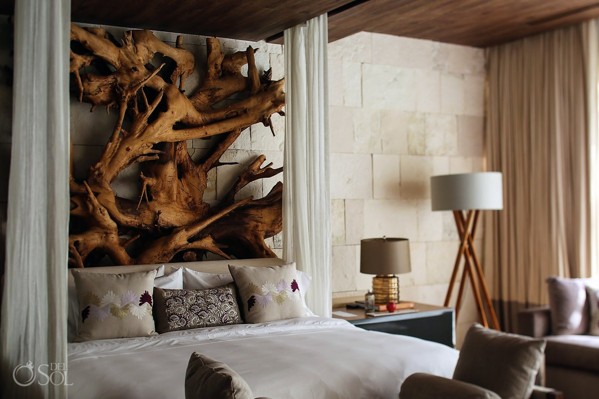 "Amazing tree roots headboard at Chable Resort & Spa Yucatan Mexico - awarded the ""Prix Versailles 2017"" best hotel in the world for architecture and design #ExperienciasInfinitas"