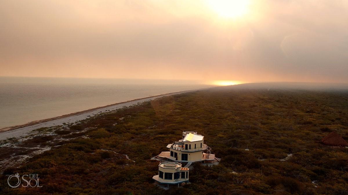 Nirvana Blue Yucatan drone views in Rio Lagartos Mexico
