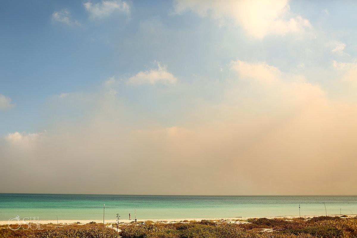 Amazing turquoise ocean in front of NIrvana Blue Yucatan Rio Lagartos Mexico