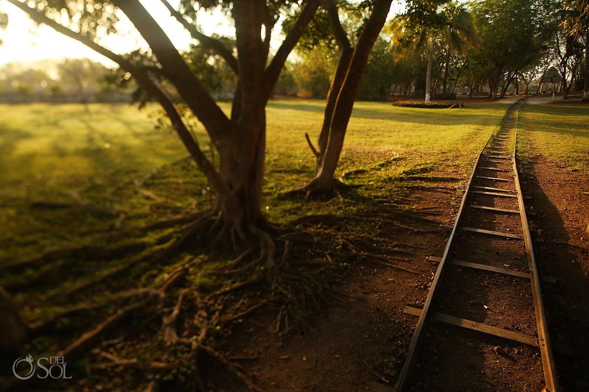 Old train tracks into Sotula de Peon, Yucatan, Mexico, farminghenequén - Green Fibre. Photos by del Sol Photography #ExperienciasInfinitas