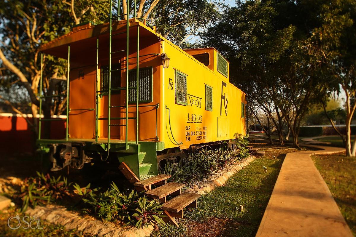 Agave Hacienda train car workers used to prepare henequén - Green Fibre gold from hacienda Sotula de Peon Yucatan Mexico #ExperienciasInfinitas