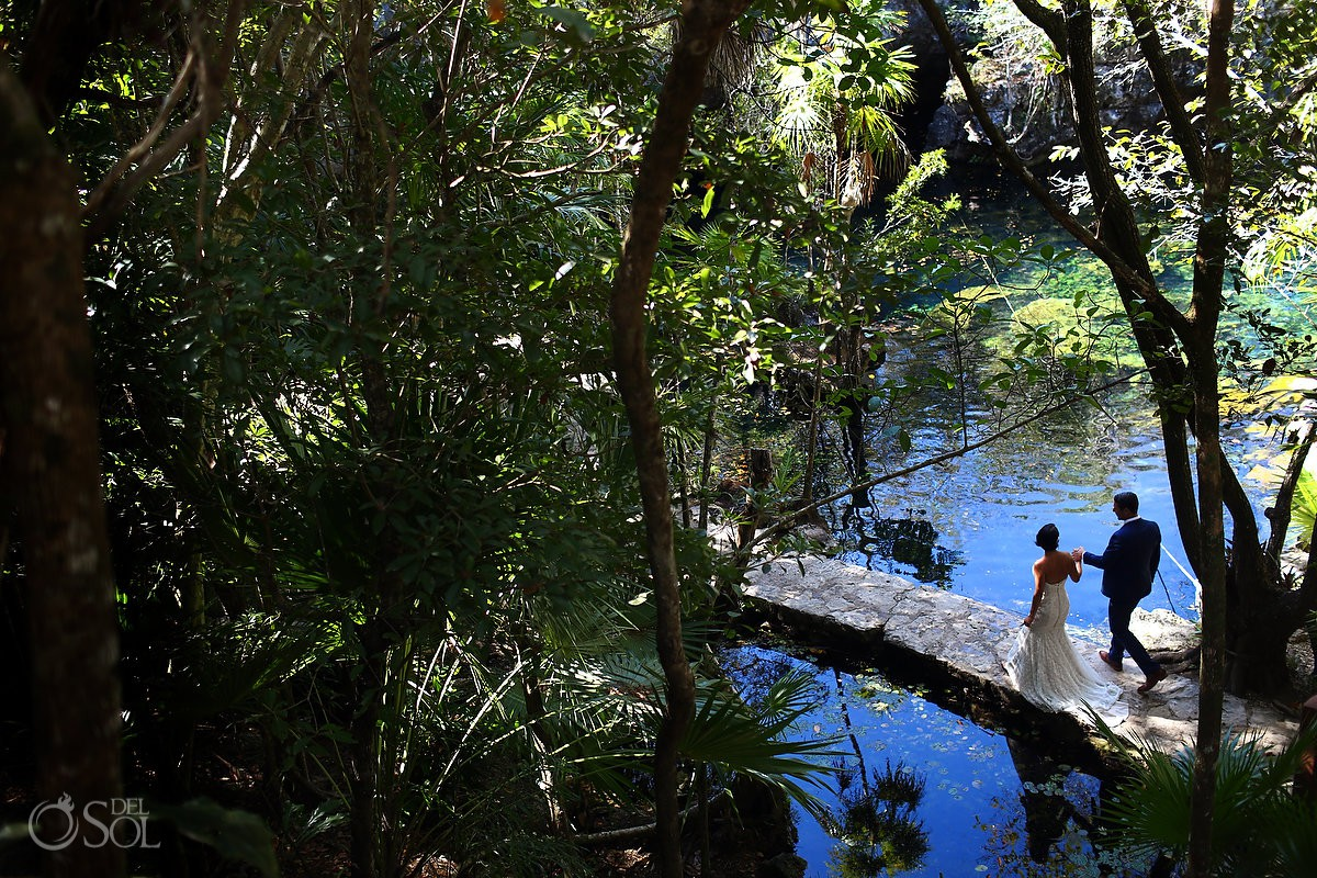 Bride and Groom walking Cenote Trash the Dress Riviera Maya Mexico